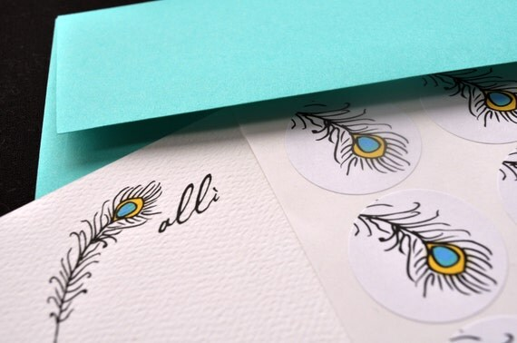 Peacock Feather Personalized Stationery Notecard and Sticker Set