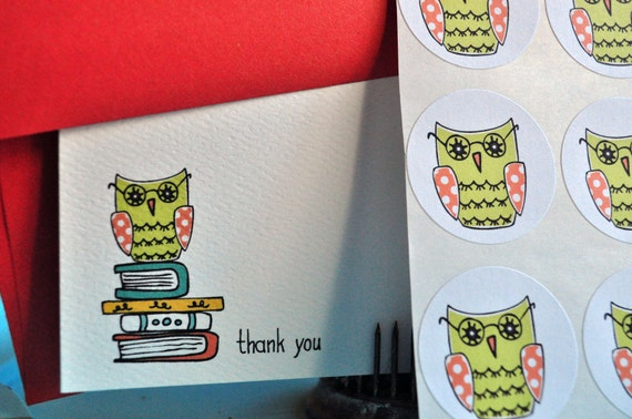 Owl Personalized Stationery or Thank You Cards and Sticker Gift Set Owl on Books