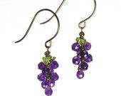 Amethyst and Peridot Grape Cluster Earrings