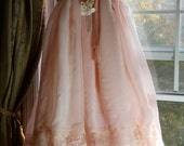 Reserved for angelxox  Peach pink  tulle lace  dress dolly wedding romantic rose medium  handmade by vintage opulence on Etsy