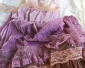 Purple gypsy  dress ruffles mauve beige lace  prairie bohemian medium  by vintage opulence on Etsy