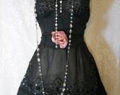 Black sheer dress tulle sparkle beaded crinoline rose medium   by vintage opulence on Etsy