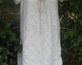 White lace dress vintage mini crochet short sleeve medium from vintage opulence on Etsy