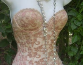 Vintage  lace bustier  beige tea stained   boned lace corset top lingerie shapewear prom  32B from vintage opulence on Etsy
