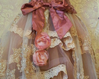 Pink ecru mauve ruffled lace and tulle petticoat with embroidered beaded overskirt tutu roses custom