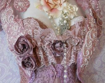 lavender  beaded shrug Dusty mauve lilac lace bolero victoriana custom wedding  roses  handmade by vintage opulence on Etsy