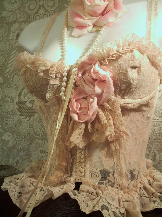 Vintage ecru lacey ruffled  bustier rose 32B (reserved for moonfragrance)