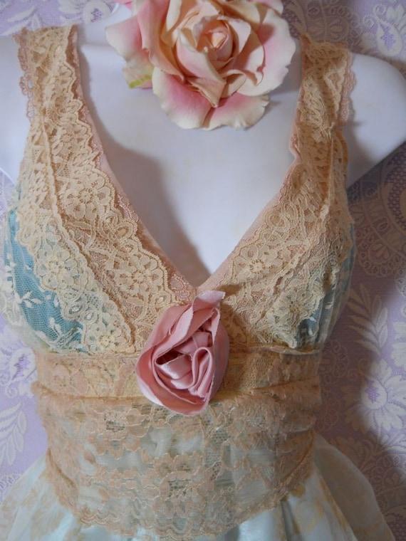 Pale, aqua, blue, satin, cream ,ecru, lace, baby doll, slip, dress, pink, rose, M/L, by vintage opulence on Etsy