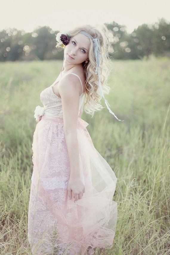 Peach pink tiered full length maxi lace tulle slip dress for Full length slip for wedding dress