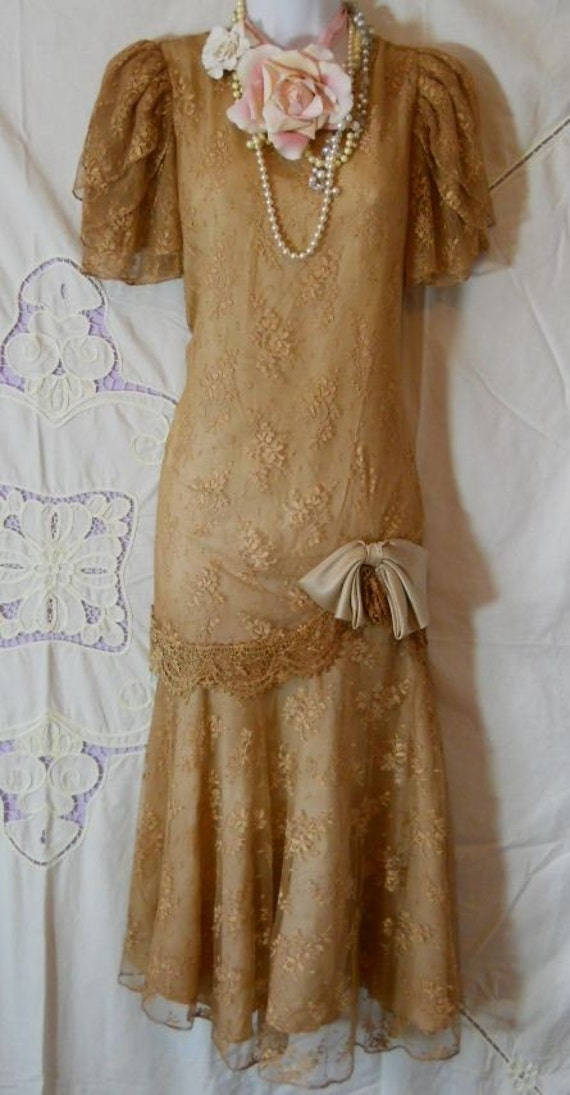 Vintage lace dress beige tea stained drop waist flapper