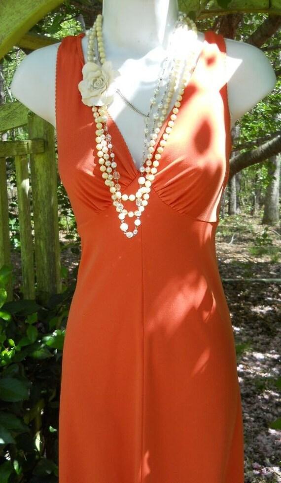 SALE orange dress maxi vintage tangerine cocktail  peach medium from vintage opulence on Etsy