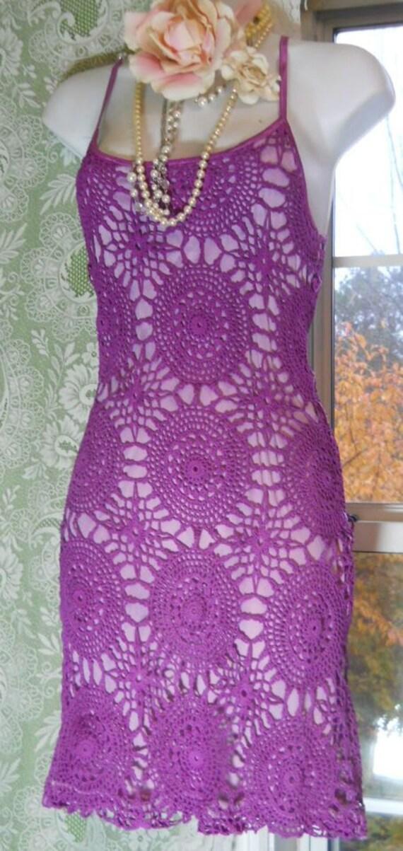 Purple crochet  dress vintage mini boho hippie small ON SALE, from vintage opulence on Etsy