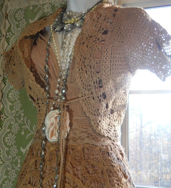 Beige crochet shrug bolero top vintage tea stained short  sleeve small  from vintage opulence on Etsy