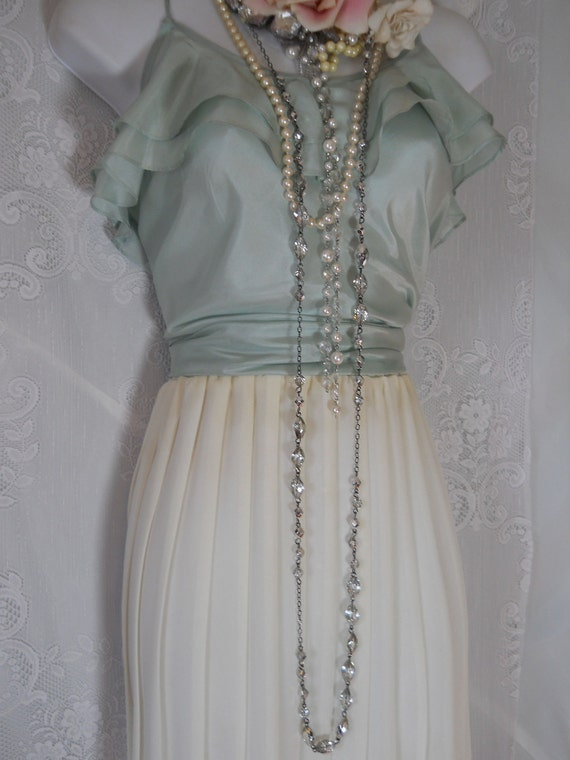 white pleated skirt cream silky floaty vintage summer medium large from vintage opulence on Etsy