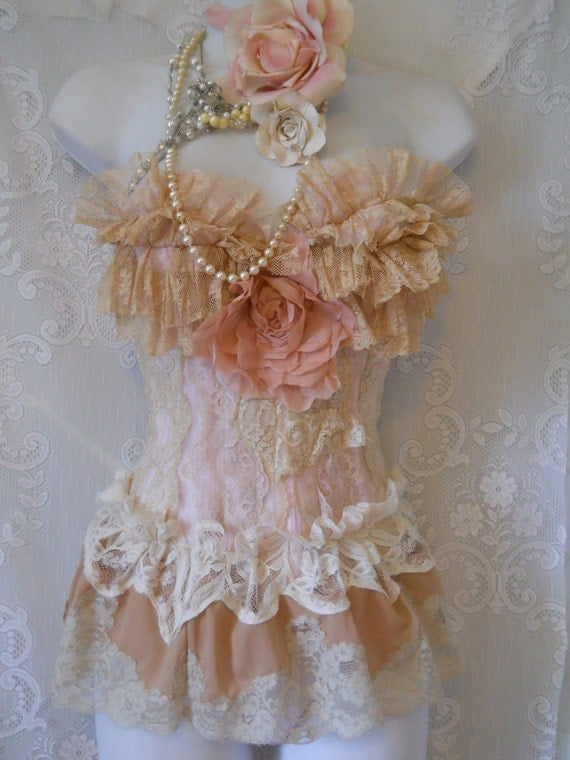 Vintage lace  bustier pink cream ruffles  rose corset  victoriana romantic shabby  32  34 by vintage opulence on Etsy