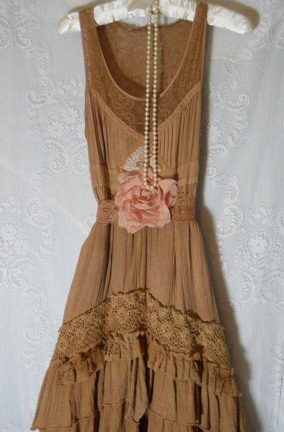 boho prairie dress beige tea stained tiered ruffled lace