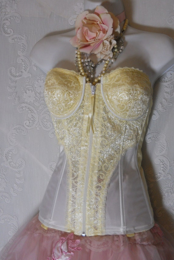 RESERVED for Christine Hollett  Yellow lace bustier  vintage  boned long line zip corset  pin-up  34B  from vintage opulence on Etsy