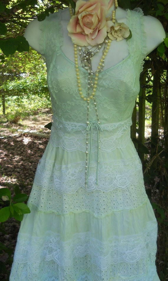 Mint lace dress prom wedding tiered cotton tulle  summer  romantic medium by vintage opulence on Etsy