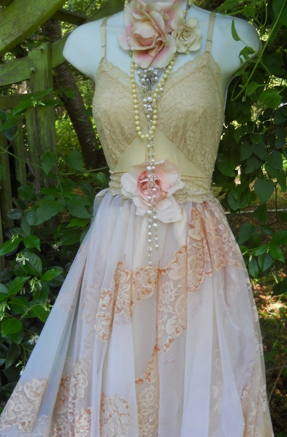 Beaded wedding dress vintage lace tea stained romantic rose for Vintage beaded lace wedding dress