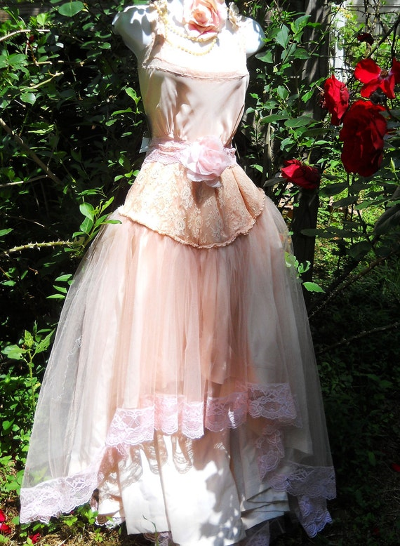 Pink prom dress tulle blush pink romantic  lace roses beading fairytale  bohemian medium  by vintage opulence on Etsy