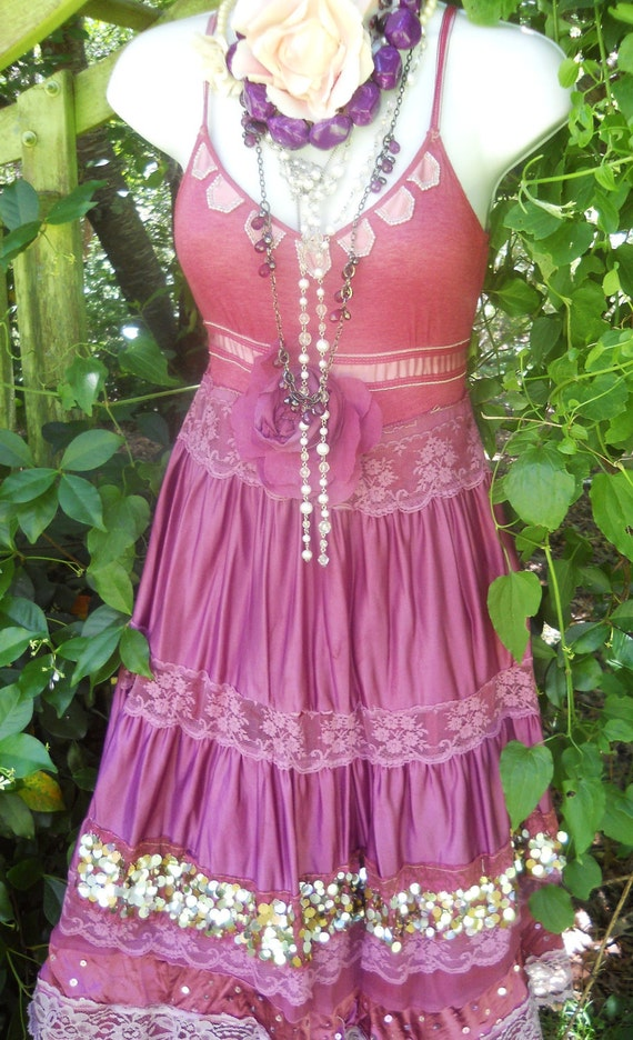 RESERVED for Emma Mock  Plum maxi  dress sequins lace gypsy boho rose  romantic medium   by vintage opulence on Etsy
