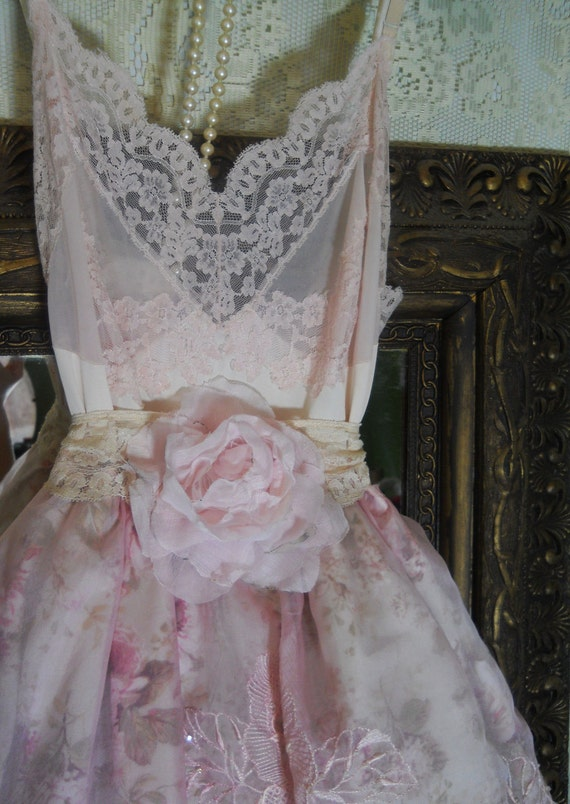 RESERVED for Heather Franklin  Pink tulle dress  baby doll  floral crinoline  rose  vintage   romantic medium by vintage opulence on Etsy