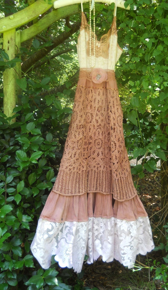 Rustic wedding dress tea stained crochet lace tiered cotton for Rustic vintage wedding dresses