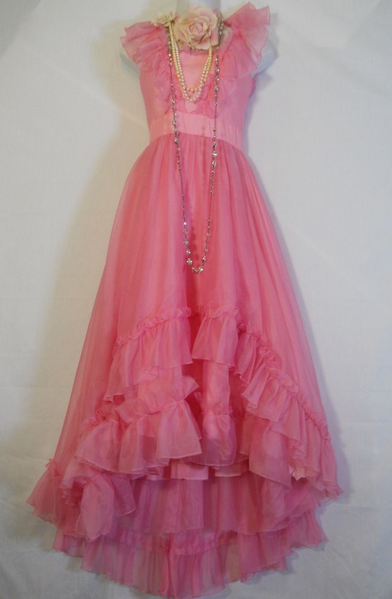 Pink ruffle  dress ruffles  vintage princess romantic prom  fairytale x-small by vintage opulence on Etsy