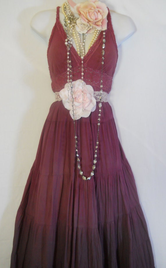 RESERVED for wessie Purple maxi dress plum burgundy tea stained crochet  tiered cotton  bohemian rose medium  by vintage opulence on Etsy