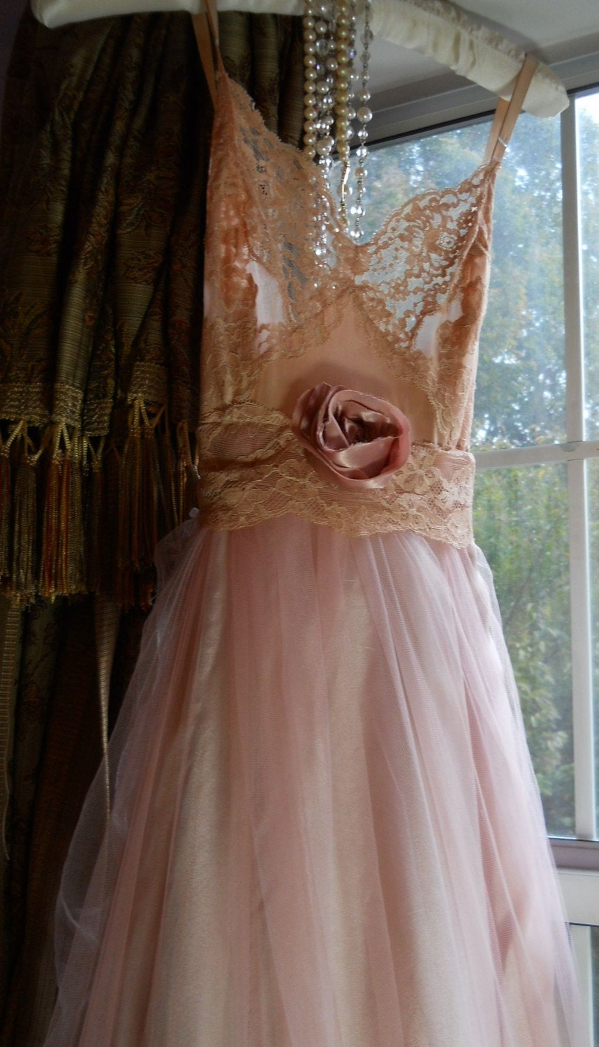 Pale Dusty Pink Satin Tulle Lace Slip Dress Dolly Wedding