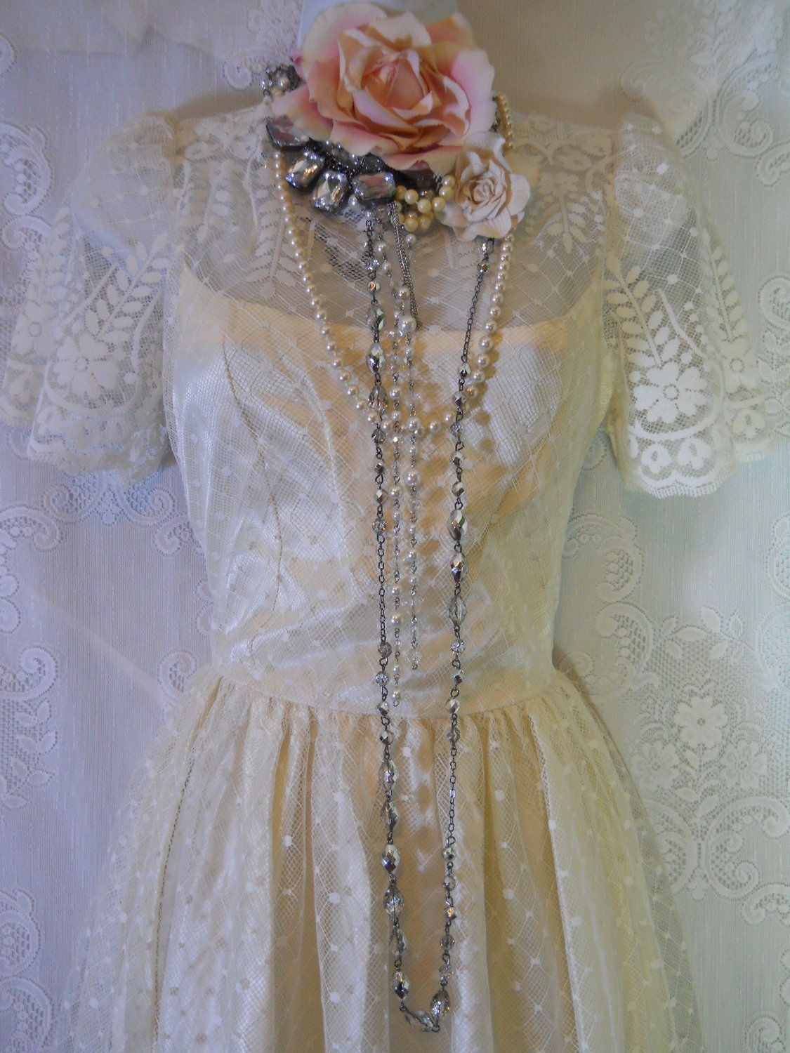 Vintage wedding dress White ivory lace satin ON SALE small