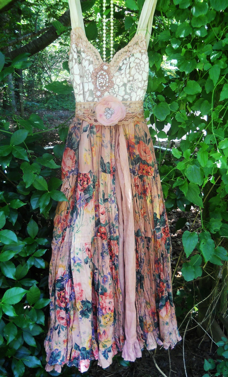 Boho Floral Dress Ruffle Cotton Tea Stained Romantic Shabby