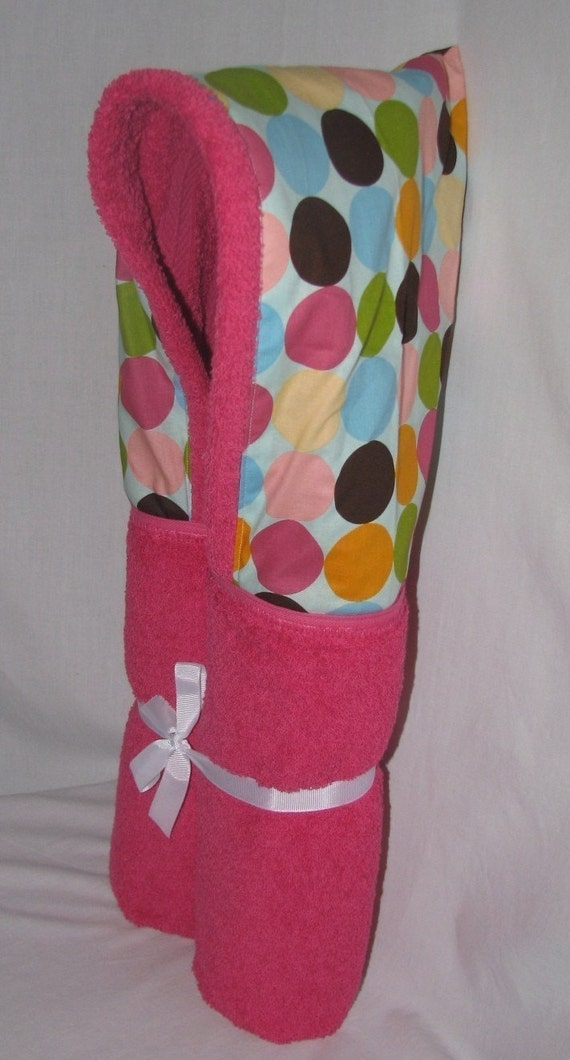 Hot dots hooded towel.  Personalization included.