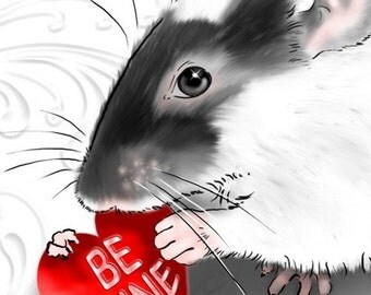 Digital Download Card: diy Printable Notecard, Be My Rattie Valentine Greeting Card, Rat with Red Heart Blank Note Card, PDF File