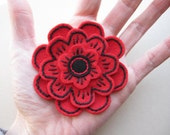 Bright Red and Black Blossom - felt flower brooch