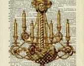 vintage chandelier printed on old page from dictionary