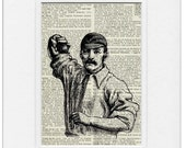 vintage baseball pitcher -  printed on page from old dictionary - FauxKiss
