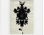 Cuckoo Clock - printed on vintage page from old dictionary