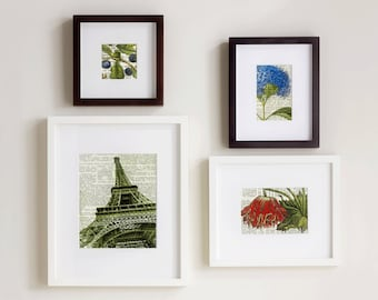 Set of Four Prints - Flowers and Eiffel