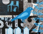 Original Mixed Media Abstract Collage by Kim Hambric Black Blue Bird- Particularly Beautiful