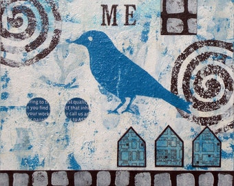 Original Abstract Mixed Media Collage Bird Black Blue - Me