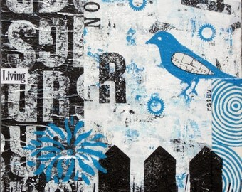 Living Now - Original Mixed Media Abstract Collage Art Bird House