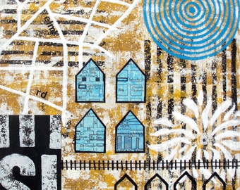 Original Mixed Media Abstract Collage Art - Used to be Farmland