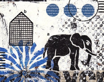 Original Abstract Mixed Media Collage Elephant -- Highest Standards