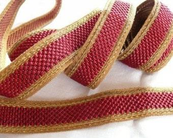 Antique Brick Red and Metallic Gold Trim
