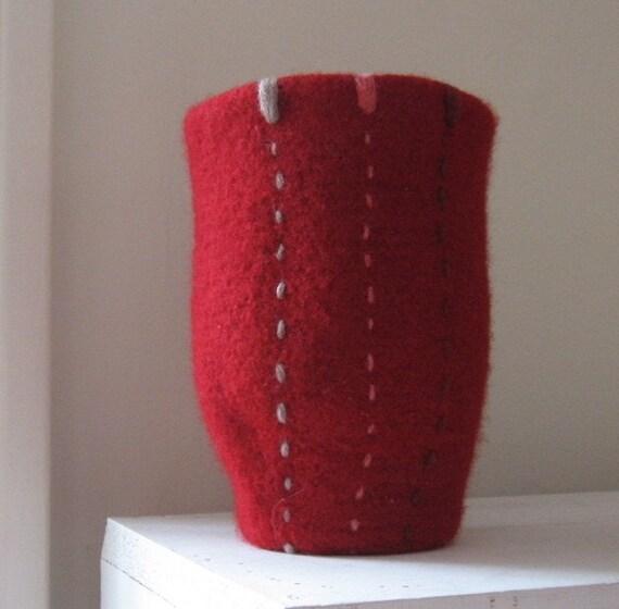 Felted Vase - Red