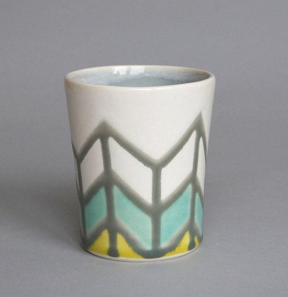 Herringbone Cup in Grey, Turquoise & Yellow