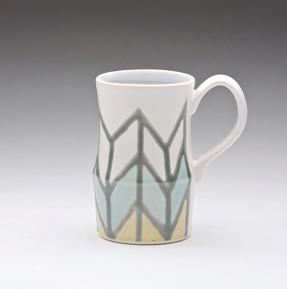 Herringbone Mug in Grey, Turquoise & Yellow