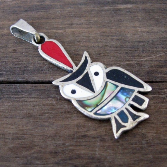 Vintage Sterling Owl with Enamel and Abalone Inlay Pendant