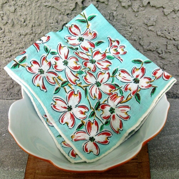 Vintage Handkerchief in Aqua and Coral Cherry Blossom 1960s